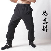 Wholesale Chinese vintage style men s kungfu pants sport long trousers size from S to XXXL