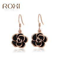 Wholesale Earring Jewelry Gold Plated Black Rose Long Drop Earrings Jewelry For Women Dangling Earrings ROXI Brand new Fashion