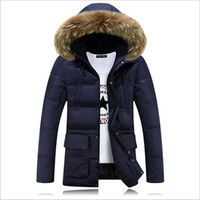 Wholesale Fall Casual Long Fur Hooded Parkas Hombre Invierno Thick Cotton padded Mens Winter Parka With Fur Hood