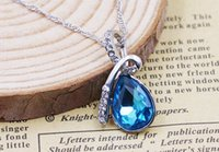 Wholesale 50 Teardrop Shaped Silver Necklace Angel Tear Pendant Austria Crystal Rhinestone Silver Pendants Without Necklace