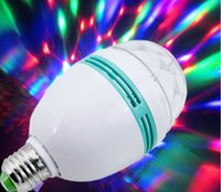 Wholesale E27 W RGB LED Crystal Stage Light Auto Rotating Lamp Laser Disco DJ Party Holiday Dance bulb