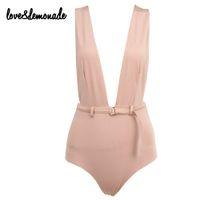 belted blazer - Love Lemonade Sexy Nude Halter Belt Decoration Bodysuits TB