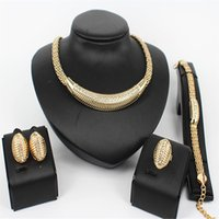 Wholesale Brand New Fashion K Gold Plated Necklace Bracelet Ring Earring Jewelry Clear Crystal Vintage Wedding Bridal Jewelry Sets