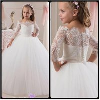Wholesale Cheap Princess White Lace Flower Girls Dress Long Sleeve Custom New Girls Birthday Party Dresses