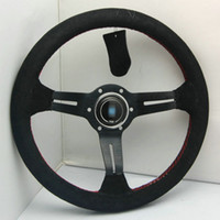 Wholesale Brand New Universal Fits Sport mm Second Level Leather Deep Dish Steering Wheel With Red Lines