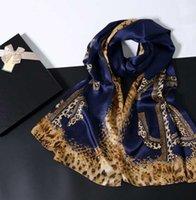 170 * 65cm 100% soie naturelle écharpe de luxe femme de marque Echarpe foulard châles Leopard imprimé hiver chaud bandanas écharpes enveloppes Hijab W