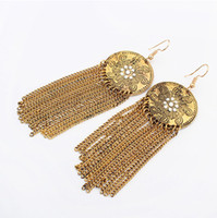 antique gold chandelier - earrings fashion jewelry Antique Gold Silver Plated Alloy Flowers Tassell Chains Fashion Women Dangle Chandelier Earrings ER677