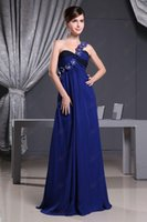 best price bridesmaid dresses - Best Price Formal Dresses Simple Bridesmaid Dress Empire One Shoulder Royal Blue Chiffon Fold Ruffle Flower Floor length Evening Gowns