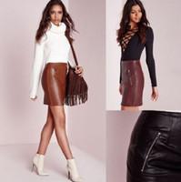 Wholesale 2016 Women Sexy Leather Pu Bodyocn Club Mini Skirt Zipper Short Pencil Skirts Brand New Good Quality