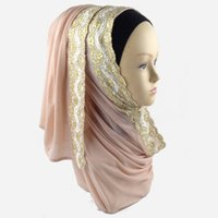 Wholesale Yiwu professional factory supply latest design Fashion style Shimmer lycra lace hijab Glitter Jersey material scarf long wrap with lace