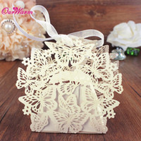Wholesale 100Pcs Romantic Wedding Favor Box With Organza Ribbon Birthday Party Laser Cut Butterfly Candy Boxes