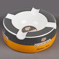 Wholesale Popular COHIBA Gadget Ceramic Large Size Round Cigar Ashtray with Rests
