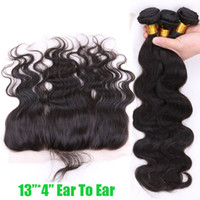 Wholesale Virgin Brazilian Body Wave Hair With Closure x4 Ear To Ear Lace Frontal Closure With Bundles Brazilian Virgin Human Hair With Closure