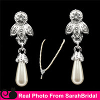 ball earrings clips - Elegant Artificial Cheap Ivory Wedding Bridal Jewelry Necklace and Chandelier Clip Earring Sets for Quinceanera Women Sweet Girls Prom