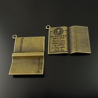 antique book lots - 10PCS Antique Bronze Book Alloy Pendant Charm Jewelry Finding mm AU36509 jewelry making