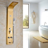 bathtub shower panels - Luxury Gold Brass Polished Shower Faucet Set Bathtub Rainfall Waterfall Shower Panel Wall Mounted Mixer Shower