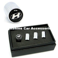 Wholesale 4pcs Chrome Car Styling Accessories Wheel Tire Valve Caps Stem Air For HYUNDAI ELANTRA i30 SONATA ix35 Santa fe Solaris VERNA