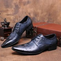 almond blue - Breathable pointed toe black blue oxfords mens dress shoes genuine leather wedding shoes mens business shoes for work