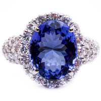 genuine diamond ring - 7 ct Genuine Tanzanite Diamond Platinum Engagement Ring