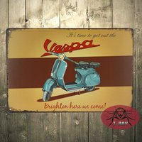 Wholesale Vintage Garage Scooter Brighton Run Mods Vespa Lambretta Medium Metal Tin Sign C