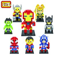 Wholesale LOZ Diamond Building Blocks The Avengers Spiderman Superman Batman Iron Man Figure Toys Children Gift