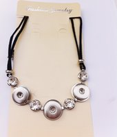 Wholesale 12pcs Fashion Statement Rhinestone Noosa Chunks Metal Ginger mm Snap Button Pendant Necklace With Black Rope