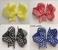 baby gingham - 3 inches Baby Girl Handmade Butterfly Gingham School Summer Dress Hair Bow Clip pces