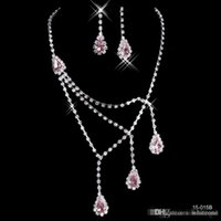 pink wedding ring - Shinning Rhinestone Pink Lady Necklace Earring Sets Bridal Accessories Jewelry for Wedding Party Evening Prom In Stock Cheap B