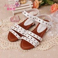 Wholesale Hot Sale Children Summer Shoes New Design Alovbear Sandalias menina Rivets Microfiber Leather Kids Girls Beach Sandals