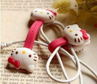 Wholesale 2X Hello Kitty Kawaii Earphone Cable Manage Winder Cable Holder Organizer for MP3 MP4 Phone Accessories