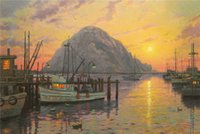 bay thomas - High tech Thomas Kinkade HD Print Oil Painting Art On Canvas morro bay at sunset x36inch Unframed