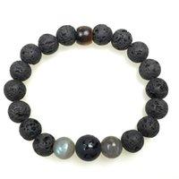 balance tiger - Bucket Tiger Eye Buddha Letters Beads Spectrolite Black Lava Healing Balance Reiki Prayer Yoga Men Bracelet