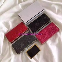 Wholesale Famous Brand leather Women Clutch long purse genuine leather C luxury designer camellia with metal chain women wallet