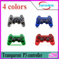 al por mayor choque palanca de mando-Juego transparente 200pcs inalámbrica Bluetooth Gamepad para PlayStation 3 PS3 Controlador de juego Joystick ZY-PS-04