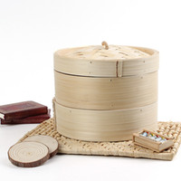 Wholesale Durable Cookware Tier Bamboo Steamer Chinese Kitchen Cookware Fish Rice Dim Sum Basket Rice Pasta Cooker Set With Lid