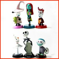 Wholesale 6pcs The Nightmare Before Christmas Mini Bobblehead Figure Lock Sally Zero Barrel Shock Jack Action Figure Toys Dolls Hallowmas Gift