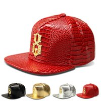 baseball diamond numbers - Vogue Faux Leather Lucky Number Logo Baseball caps Diamond Gold Crocodile Grain snapback DJ hip hop hats Men Women gifts Casquette