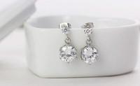 Wholesale 2016 Korean version twins flowers CZ diamond stud earrings sterling silver jewelry earrings fashion earrings