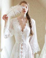 beautiful nightwear - Pure Sexy Long Nightwear White Lace Vintage Princess Dress Medieval Nightgown European style Palace Robe Beautiful Vestidos