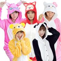 Wholesale Unisex Kigurumi Onesie Adult Couple Pajama Sets Flannel Homewear Loungewear Cartoon Soft Hooded Panda Hello Kitty Cosplay Pyjamas K56L