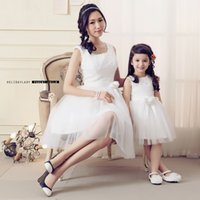 Wholesale Mother And Daughter Dress Children Girl Birthday Party Christmas Formal Dresses Sleeveless Lace Mother Daughter Maching Outfits Clothes