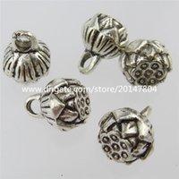 antique fruit - 13099 Antique Silver Tone Mini Lotus Flower Fruit Pendant Jewelry Finding