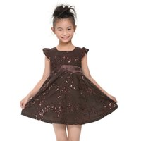 Wholesale New Little Girls Pageant Princess Elegant Tulle Sheer Jewel Gray Sequined Puff skirt Happy Kids Flower Beading Party Lovely Dresses