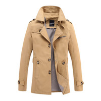 Wholesale Fall Long Trench Coat Men Winter Overcoat Men Classic Gothic Solid Coats Men Windbreaker Outwear Black Trench Jackets XL