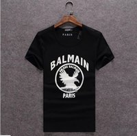 Wholesale and retail Hott Men s New T Shirt Balmain Paris collor White Black Green Cotton Size ANY SIZE