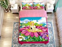 alternative comforter twin - Girl princess butterfly flower bed duvet cover pillow cases comforter bedding sets home textile Filler alternative