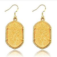 Wholesale Fashion Earrings for Women Famous Designer Jewelry Top Selling Korea Style Golden Frame Oval fluorescent Drop Earrings