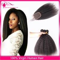 Wholesale 8A Cheap Kinky Straight With Closure X4Inch Free Middle Or Three Part Natural Color Peruvian Virgin Human Hair Weave With Lace Top Closure