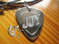 Wholesale Korea super star jung joon young logo Model No handmade stainless steel guitar pick pendant necklace for fans
