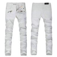 Wholesale 2016 Luxury Brand Balmain Jeans Men Brand Designer Denim Skinny Jeans Men Fashion Hip Hop White Jeans Men True Religious